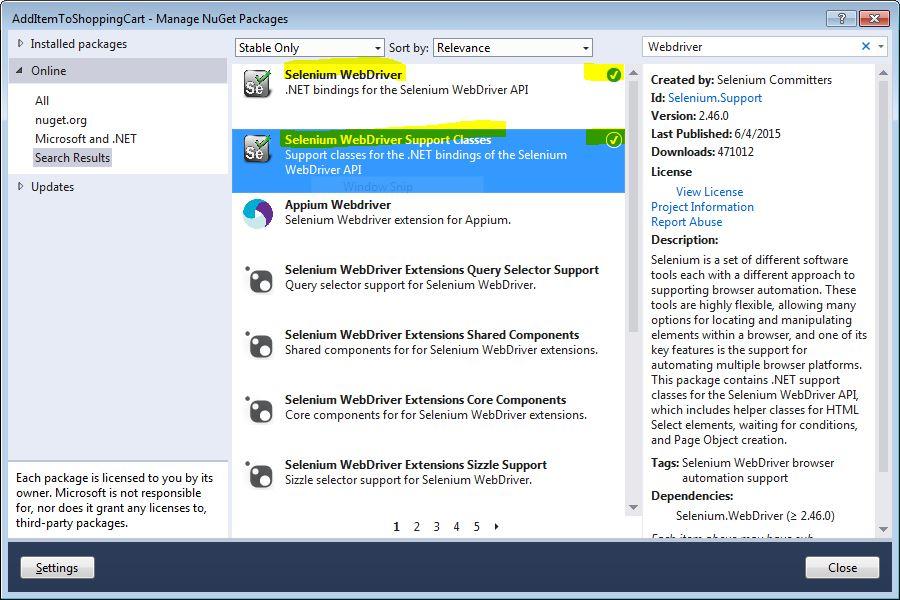 Webdriver and WebDriver Support files