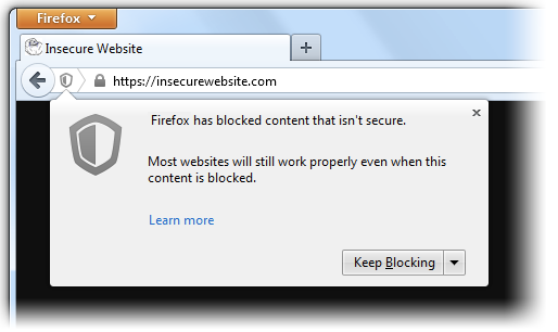 How to handle Mixed Content blocker in Firefox via WebDriver